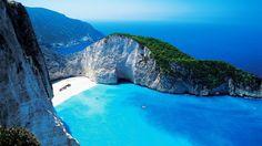 Navagio Beach (or Shipwreck Beach), Zakynthos, Greece Places Around The World, Around The Worlds, Beautiful World, Beautiful Places, Beautiful Scenery, Beautiful Beach, Places To Travel, Places To Visit, Zakynthos Greece