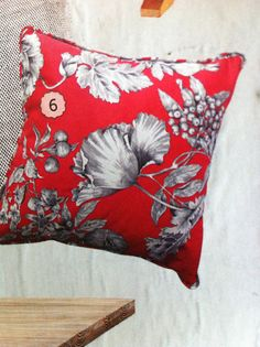 Les Grenades cushion $80 town and country style. Red and grey!