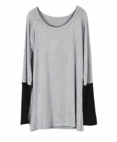 Gray Oversized Long Sleeves T-shirt with Contrast Black Cuffs