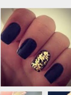 Really good black and golden sparkle nails   ~ Jules