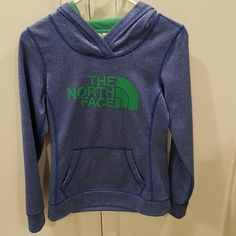 North Face womans hoodie size xs Gently used, like new North Face blue hoodie. Size xs. No flaws. From smoke free home. North Face Tops Sweatshirts & Hoodies