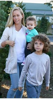 Mixed Chicks- Kendra Wilkinson and her kids Hank and Alijah.