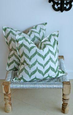 Indian Hand block Print Throw Pillows Green Chevron Print Cushion Covers Cotton and Linen 18x18 Pair