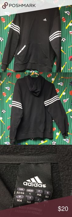 Black Womens Large Adidas Hoodie Gently worn Women's Large Black and White Adidas Hoodie. In excellent condition with no major flaws. Features extra front snap Button pocket. Adidas Tops Sweatshirts & Hoodies
