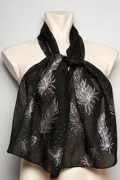 Elegant Black Hand Painted Silk  Cotton  Scarf  by LigaKandele