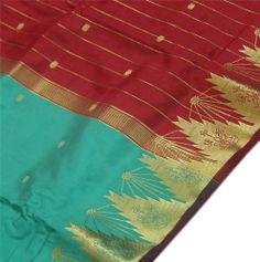 Woven Zari Brocade Indian Art Silk Saree Curtain Drape Panel Fabric Green Red