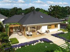 ovo je kuća mojih snova veli diša nebi više na posel došla :D 4 Bedroom House Designs, Bungalow House Design, Modern House Design, Home Design Diy, Home Garden Design, Duplex House Plans, New House Plans, Bungalows, Single Storey House Plans