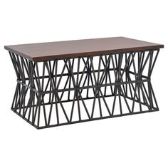 Add a touch of industrial-inspired flair to your living room with this eye-catching coffee table, showcasing a brown top and iron latticework base. ...