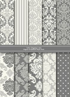 damask absolute favorite pattern/ design i can never have enough Room Wallpaper, Grey Damask Wallpaper, Striped Wallpaper, Wallpaper Ideas, Bedroom Decor, Wall Decor, Digital Scrapbook Paper, My New Room, Interior And Exterior
