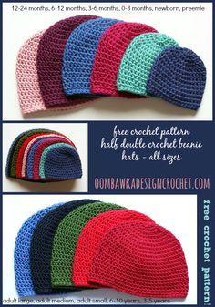 Basic beanie hat crochet pattern in half double crochet for all sizes