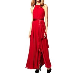 Sue&Joe Women's Long Evening Gown Asymmetrical Maxi Party Dress with Ribbon Belt