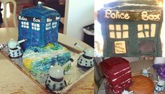 Tardis Cake    5 layer Red Velvet with Cream Cheese frosting center and homemade fondant Tardis. Daleks are upside down Red Velvet cupcakes, triple-double oreos, pretzel sticks & cakepop tops. Spice Cake with Cream Cheese Frosting Space Cake. Started at 12noon and finished at 6:00am working through the night with few short breaks (total work time: 15hours). | Original creation by Evea Gornall & Salia Wilson.