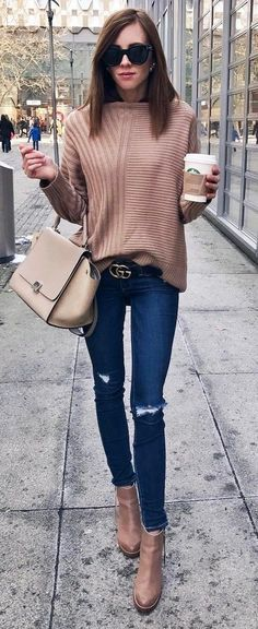 cute fall outfit : sweater weather + nude bag + rips + boots