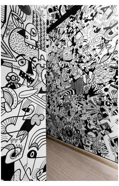 Graffiti Doodles, Graffiti Wall Art, Murals Street Art, Mural Wall Art, Street Art Graffiti, Office Mural, Office Wall Art, Office Walls, Doodle Wall