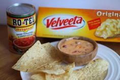 The easiest and best dip for a party, gatherings, when the hubby watches football. Always a hit and it's so yummy! Addictive. The best queso dip with only two ingredients. Rotel tomatoes and velveeta cheese.
