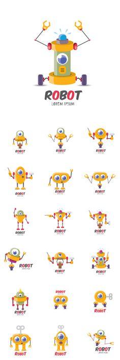 Vector Cartoon Cute Flat Robot Icons