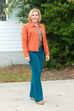 Rust and teal - Savvy Southern Chic Office Fashion Women, Womens Fashion For Work, Work Fashion, Curvy Fashion, Plus Size Fashion, Fashion Top, Ladies Fashion, Teal Pants Outfit, Trendy Outfits