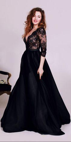 2017 prom dress, long prom dress, black prom dress, half sleeves prom dress…