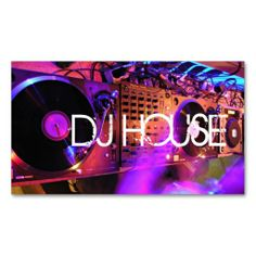 DJ HOUSE MUSIC ENTERTAINMENT CLUB BUSINESS CARD TEMPLATES. This great business card design is available for customization. All text style, colors, sizes can be modified to fit your needs. Just click the image to learn more!