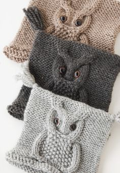 owl motif hats ~ goodness these are cute...to knit for them ~~