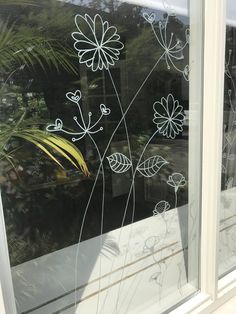 Botanical Flowers Window Drawing DIY Print For Your Window Etsy - Blumen Flower Window, Flower Doodles, Doodle Flowers, Drawing Flowers, Art Flowers, Posca Art, Chalk Drawings, Botanical Flowers, Window Art
