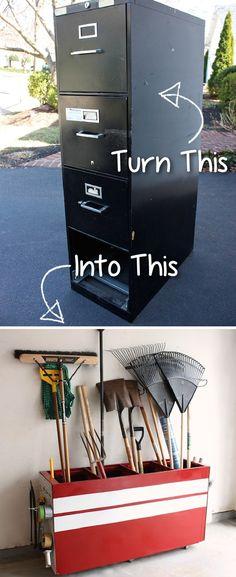 20-Creative-Furniture-Hacks-Turn-an-old-file-cabinet-into-garage-storage1.jpg 535×1,310 pixels Salon Furniture, Old Furniture, Upcycled Furniture, Furniture Design, Diy Garage, Garage Storage, Turning, Repurposed, Filing Cabinet