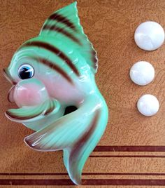 Vintage Lefton Fish N Bubbles Wall Plaque by Pixandthecity on Etsy, $80.00