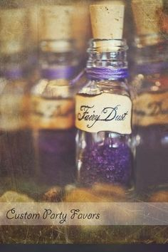 This could be bath salts or something like that but labeled fairy dust, cute idea for wedding favours