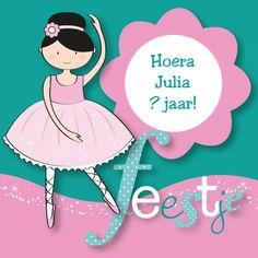 Een mooie uitnodiging voor een kinderfeestje met een kleine ballerina! Plaats je eigen tekst in de bloem.