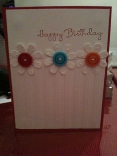 Versatile card layout. Stripes embossing folder and Brights buttons on the flowers really make this card so pretty!