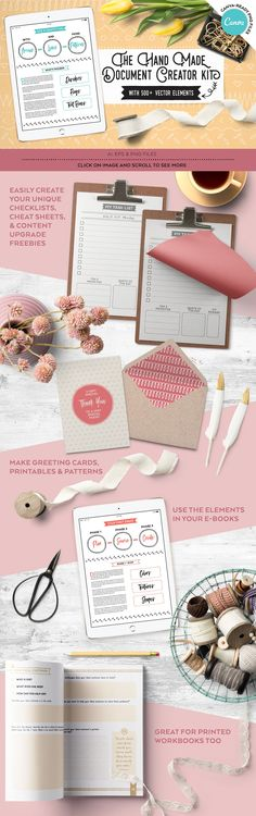 Creative Bloggers Handmade Document Creator Kit #affiliate   Create beautiful workbooks, cheat sheets, lists, ebooks, greeting cards, postcards for print or for your readers to download