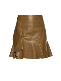 Asymmetric ruffled leather mini skirt   Alexander McQueen   MATCHESFASHION.COM AU
