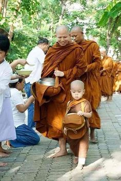 Buddhist monks both large and small