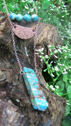 Sonora Desert Turquoise Tablet Necklace in Rose-Gold Filled with Chrysocolla Faceted Beads, Turquoise Necklace, Copper Necklace by woodsandwillow on Etsy