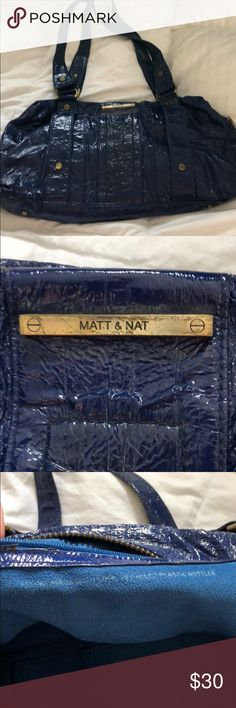 Vegan Patent Leather Mat & Nat Handbag Purchased at Neiman Marcus. Made from recycled bottles, vegan Patent Leather in royal blue with gold metal hardware. Gently used with some minor wear and tear. Satchel or small tote size; expandable with hooks on side undone. Matt & Nat Bags Satchels