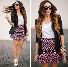 black blazer + skirt