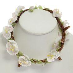 Beaded cherry blossom necklace