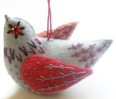 Beautiful Nancy Nicholson Felt Embroidered Bird - check out her stitch kits on www.drapersdaughter.com