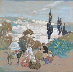 Musiciens arabes devant une ville von Edouard Edmond Doigneau