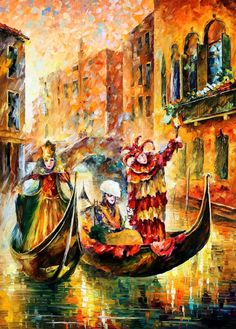 Venice Gondola PALETTE KNIFE Modern Oil by AfremovArtStudio