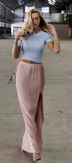 summer outfits  Grey Tee + Blush Maxi Skirt