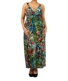 Take a look at the Green Floral Surplice Maxi Dress - Plus on #zulily today!
