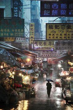 octavineillustration:    Hong Kong in the rain.