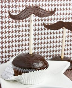 Mustache-Topped Chocolate Cupcakes