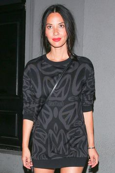 Olivia Munn's expertly disheveled ponytail took as much careful planning as her bold watermelon mouth.