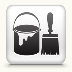 Square Button with Paint Bucket & Brush vector art illustration