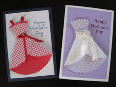 Mother's Day cards I made for my Mum (left) and Granny (right). I especially like how the nautical checkered dress came out.     1