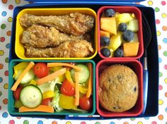 fried chicken (leftover from the other night), a garden salad (lettuce, cucumber, tomato, carrot, yellow peppers), pineapple/cantaloupe/blueberries/honeydew, and a mixed berry muffin