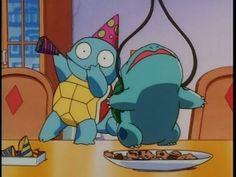Squirtle & Bulbasaur Haing a Wild Party With Pokemon Treats & Party Hats Pikachu, Pokemon Memes, Pokemon Funny, Cute Pokemon, Pokemon Go, Pokemon Party, Cartoon Memes, Cartoon Pics, Cartoons
