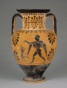 Etruscan Black-Figure Neck Amphora; Attributed to the Lotus Bud Group; Orvieto (probably), Etruria; about 490 B.C.; Terracotta; 34.6 x 21.5 cm (13 5/8 x 8 7/16 in.); 68.AE.17